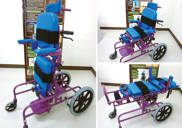 This wheelchair for children with cerebral palsy is designed to operate in both reclining and standing positions.