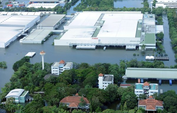 flooded industrial estate