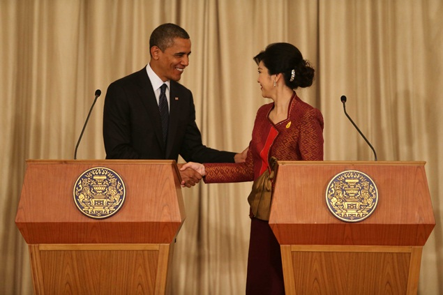 US President Barack Obama and Thai prime minister Yingluck Shinawatra