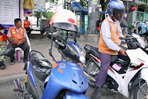 Taking motorbike taxis in Bangkok