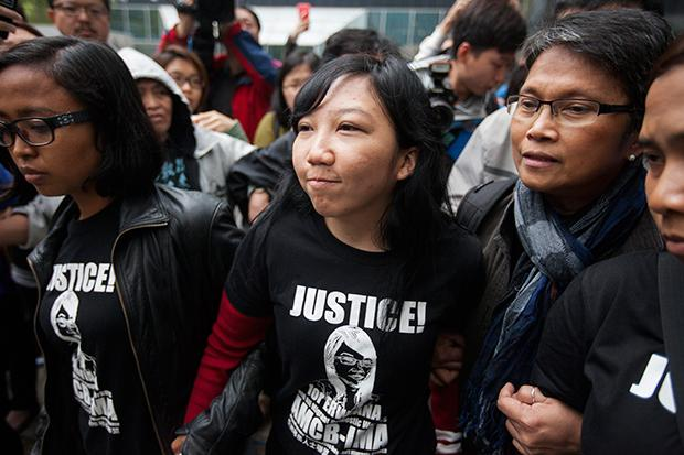 Hong Kong woman found guilty of abusing her Indonesian maid.