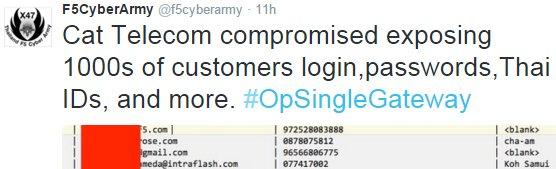 Anonymous target Thailand's Telecom website, leak secret Thai government agenda
