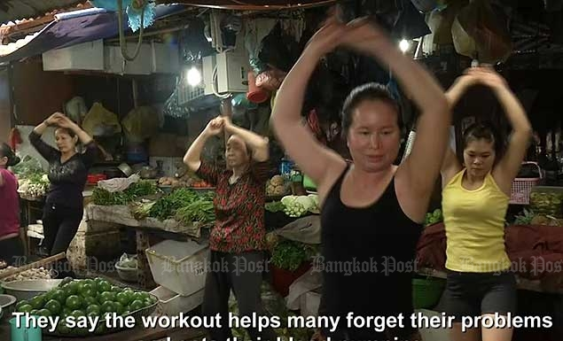 Morning workout at a Hanoi market