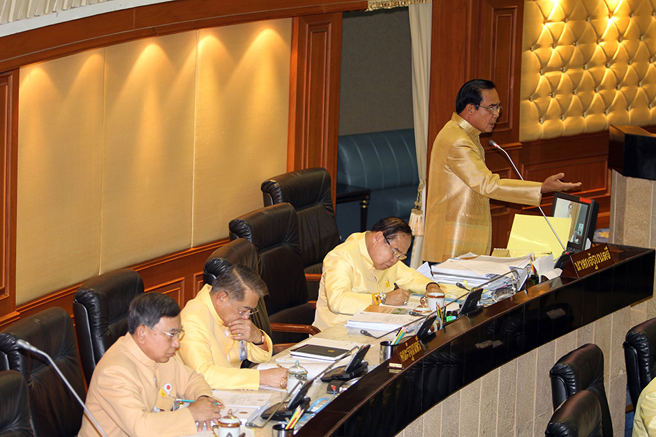 Prime Minister Prayut Chan-o-cha explains the 2017 fiscal year budget of 2.73 trillion baht to members of the National Legislative Assembly at Government House.