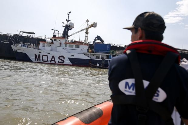 A Migrant Offshore Aid Station (MOAS) crewman returns to the mother ship MV Phoenix on the Chao Phraya river in Samut Prakan on Feb 26, prior to the group's departure for the Andaman Sea. (Reuters Photo)