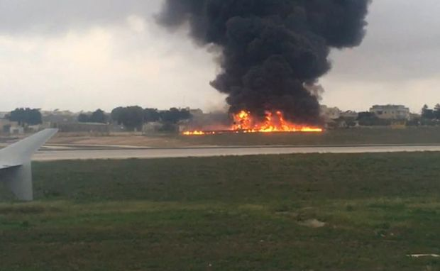 Plane crashes on takeoff in Malta, 5 aboard killed