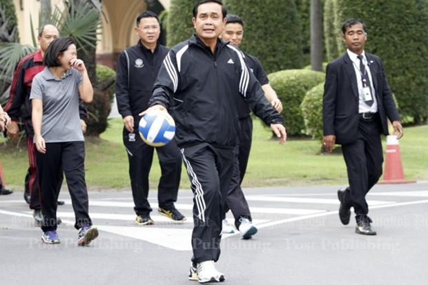 The prime minister gets some exercise