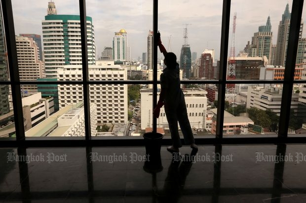Older office buildings undergoing renovation