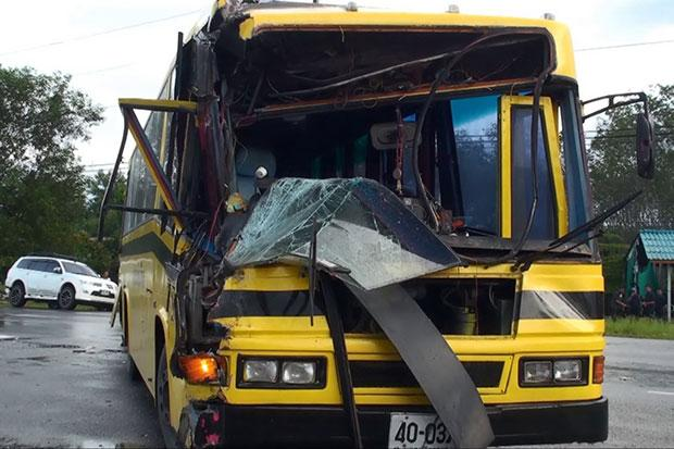 Four pupils hurt in school bus-truck crash | Bangkok Post: news