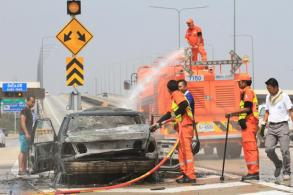 Car catches fire on expressway
