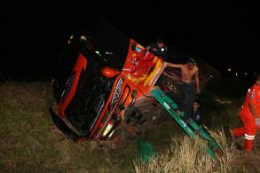 46, mostly students, hurt after bus plunges into ditch