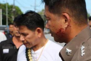 Policeman slain, five injured in drive-by shooting
