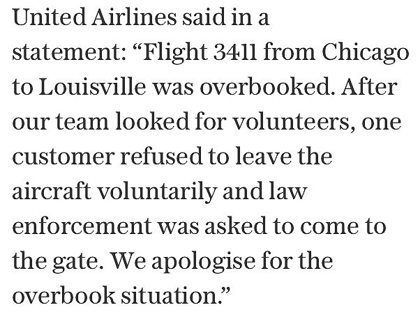 Police drag United Airlines passenger from overbooked US