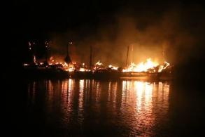 Floating rafts gutted by fire in Kanchanaburi
