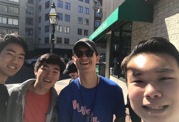 Exploring Boston with friends