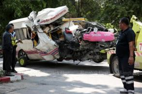 Sweeper car, van collision kills two
