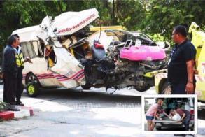 Speeding, tailgating van hits highway sweeper, kills two