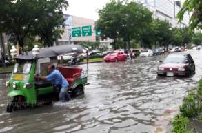 Widespread city flooding, water slowly draining