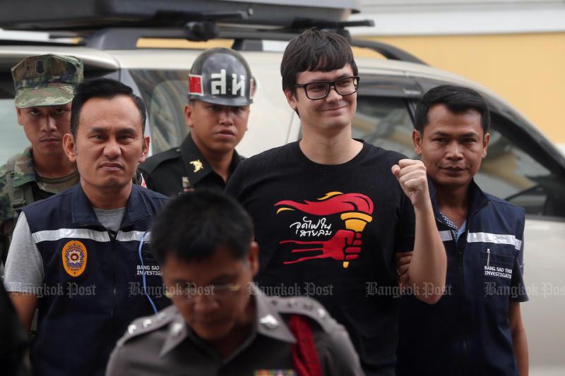 Student activist Rangsiman sent to military court, bailed