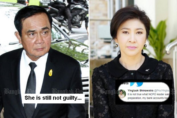 Yingluck tweets 'foul', says accounts seized