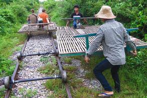 New track for bamboo trains in Cambodia