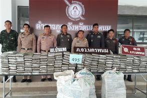 Four Lao men arrested, 495kg ganja seized in Nakhon Phanom