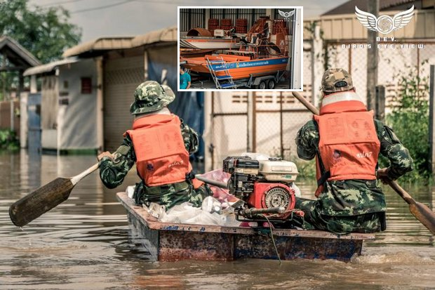 Hundreds of relief vehicles idle at Sakon Nakhon