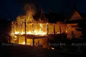Fire destroys new building at Ayutthaya temple