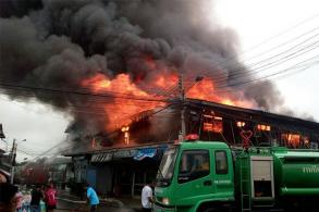 Fire destroys seven shophouses in Chachoengsao