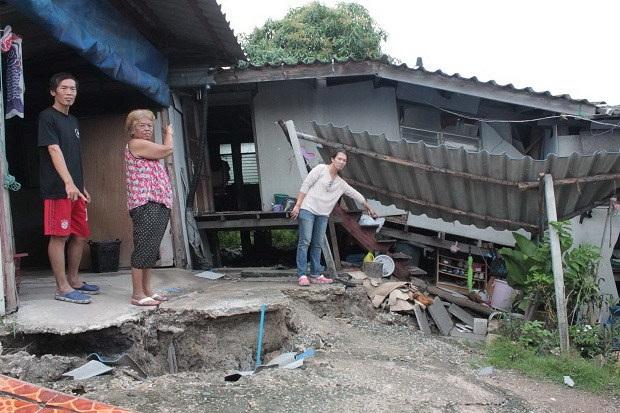 Families blame roadworks for collapsed houses