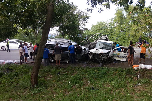 Three killed, four badly hurt in Songkhla crash