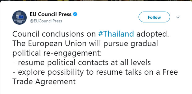 EU To Restore Full Political Contacts With Thailand  Political Resume