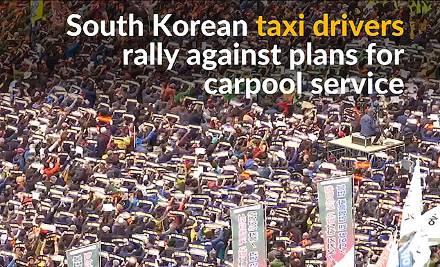 South Korean taxi drivers protest new carpool service