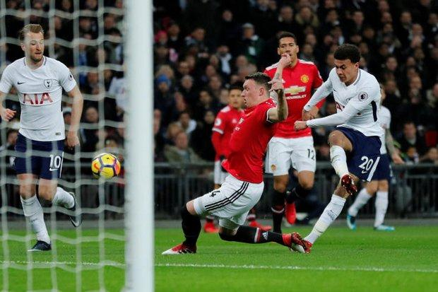 Tottenham's Dele Alli shoots at goal as Spurs faced Manchester United at Wembley Stadium in London