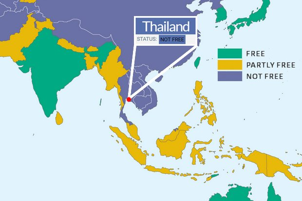 Thailand 'not free' since coup