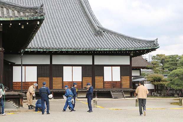 Tourists arrested over powder scattered at Kyoto castle
