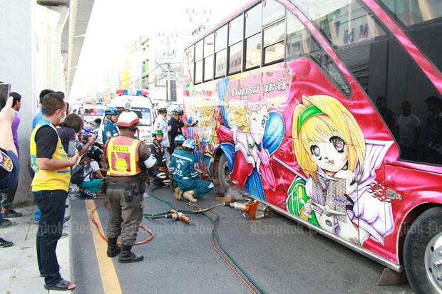 Driver killed as bus toppled during wheel change