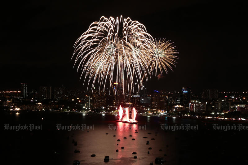 Pattaya sky lit up with spectacular fireworks