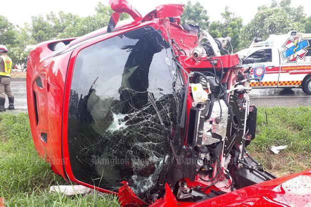 Driver of smashed B24m Ferrari cheats death
