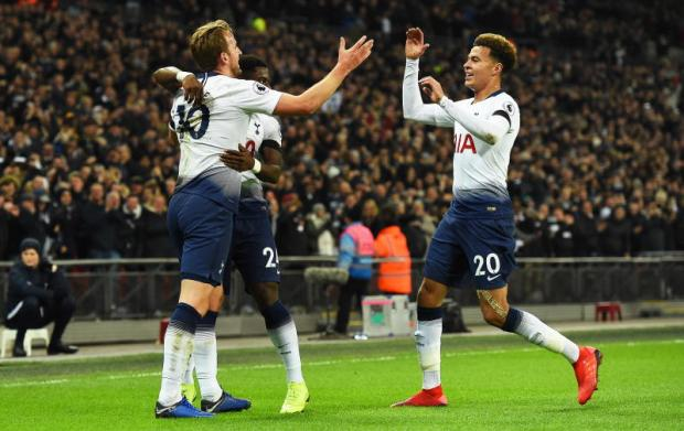 ... Aurier and Dele Alli (right) after scoring the 2-0 lead during the  English Premier League soccer match between Tottenham Hotspur and Chelsea  at Wembley ... 6c11c8ab7a058