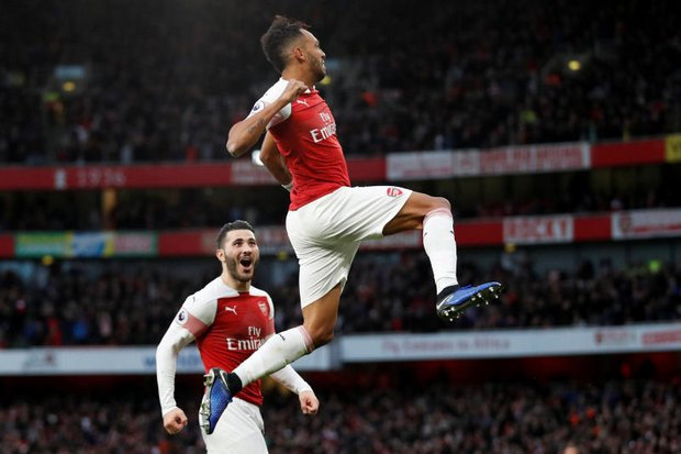 Arsenal's Pierre Emerick Aubameyang celebrates his goal in the 4-2 win over Tottenham Hotspur at the Emirates Stadium in London
